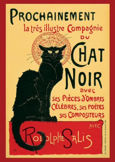 Theophile Alexandre Steinlen: Tour of Rodolphe Salis' Chat Noir. Vintage French Print.  (001679)